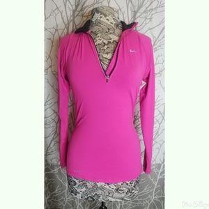 Nike Dri fit  pink half zip pullover small